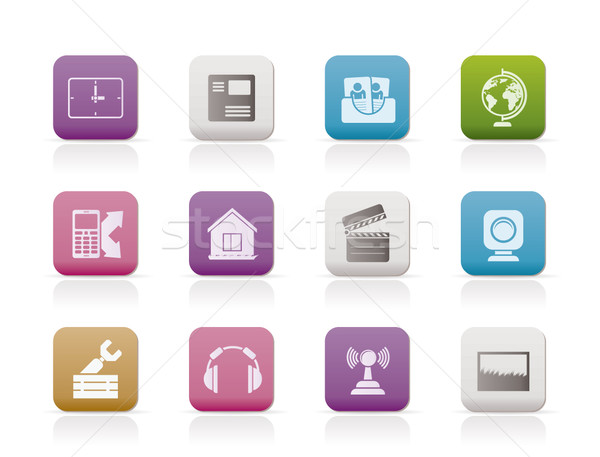 Mobile phone and computer icons Stock photo © stoyanh