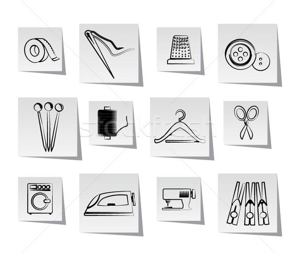 Textiles objets industrie icônes vecteur Photo stock © stoyanh