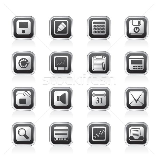 Stock fotó: üzlet · iroda · pénzügy · ikonok · vektor · ikon · gyűjtemény