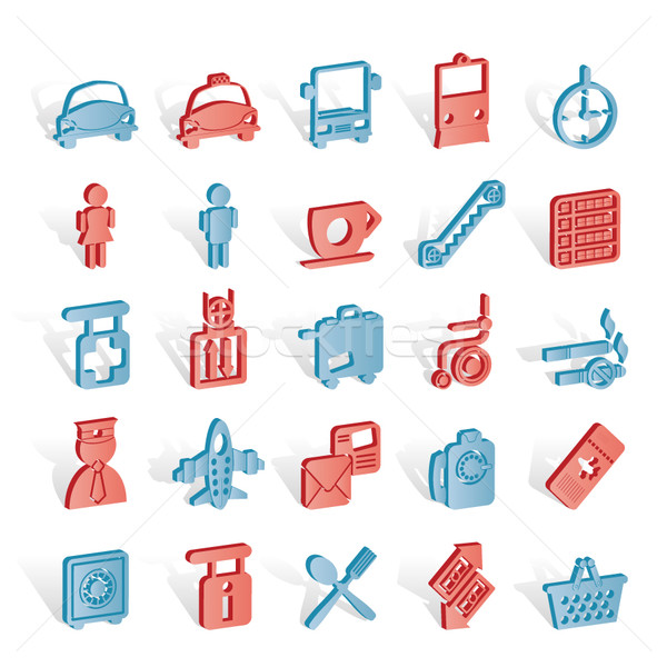 Airport, travel and transportation icons Stock photo © stoyanh