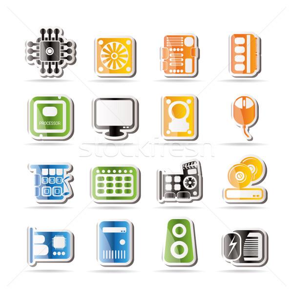 Stockfoto: Eenvoudige · computer · prestaties · uitrusting · iconen · vector