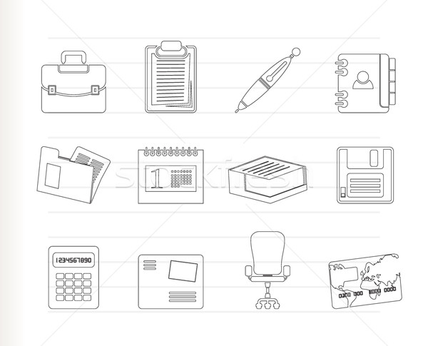 Stockfoto: Business · kantoor · iconen · vector · boek