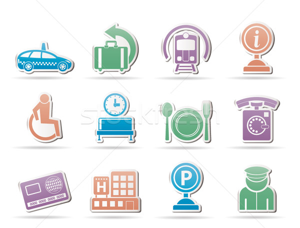 airport, travel and transportation icons 2  Stock photo © stoyanh