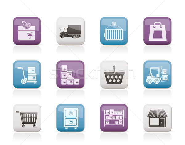 Storage, transportation, cargo and shipping icons Stock photo © stoyanh