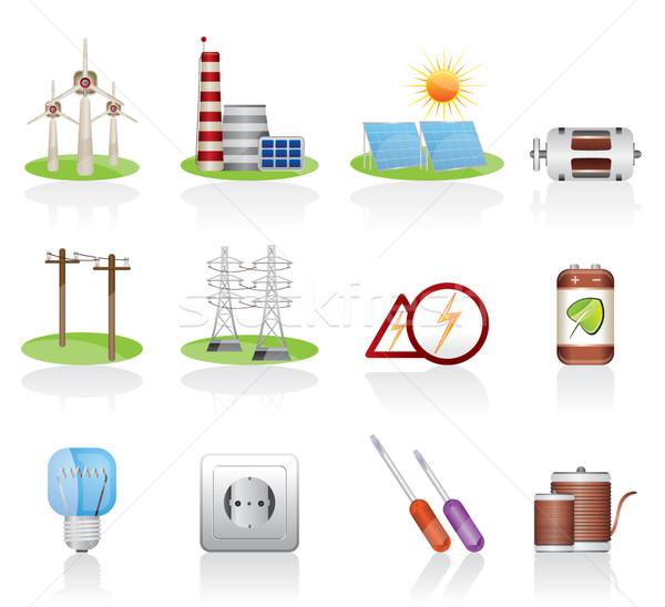 Elektrycznej moc ikona wektora Internetu Zdjęcia stock © stoyanh