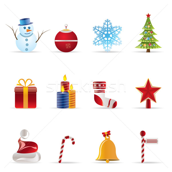 Mooie christmas winter iconen vector Stockfoto © stoyanh