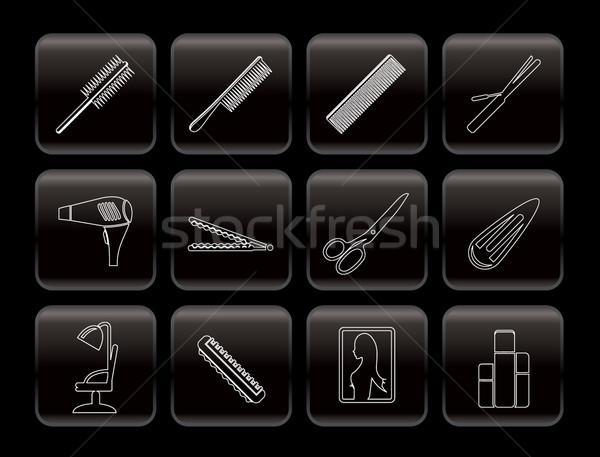 Line makijaż ikona wektora domu Zdjęcia stock © stoyanh