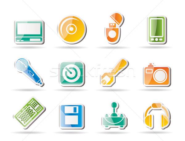 Zdjęcia stock: Komputera · telefonu · komórkowego · wyposażenie · ikona · wektora