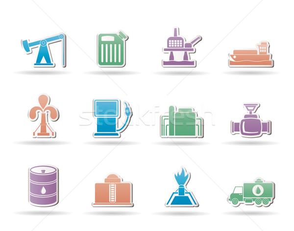 Olaj benzin ipar ikonok vektor ikon gyűjtemény Stock fotó © stoyanh