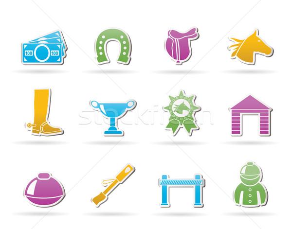 Lóverseny hazárdjáték ikonok vektor ikon gyűjtemény pénz Stock fotó © stoyanh