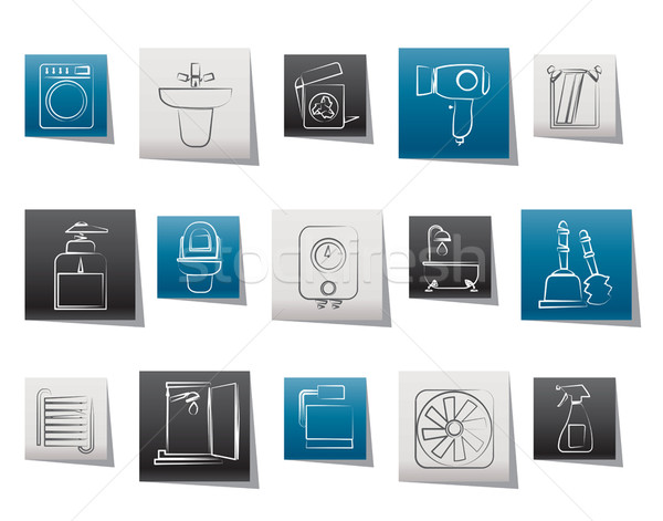 Bathroom and toilet objects and icons Stock photo © stoyanh