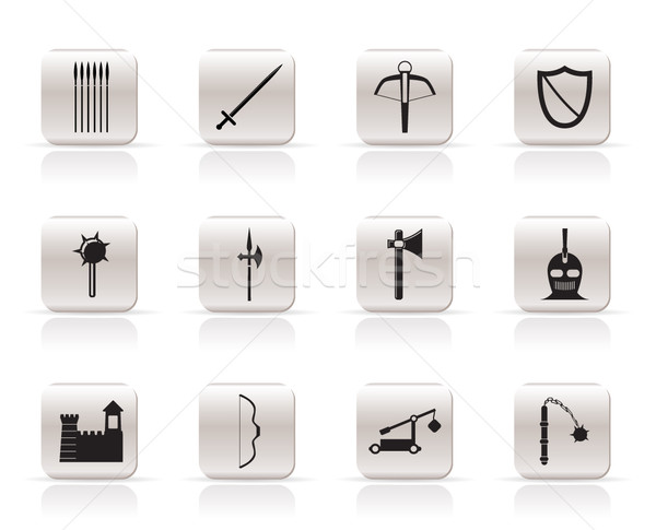 Simple medieval arms and objects icons Stock photo © stoyanh