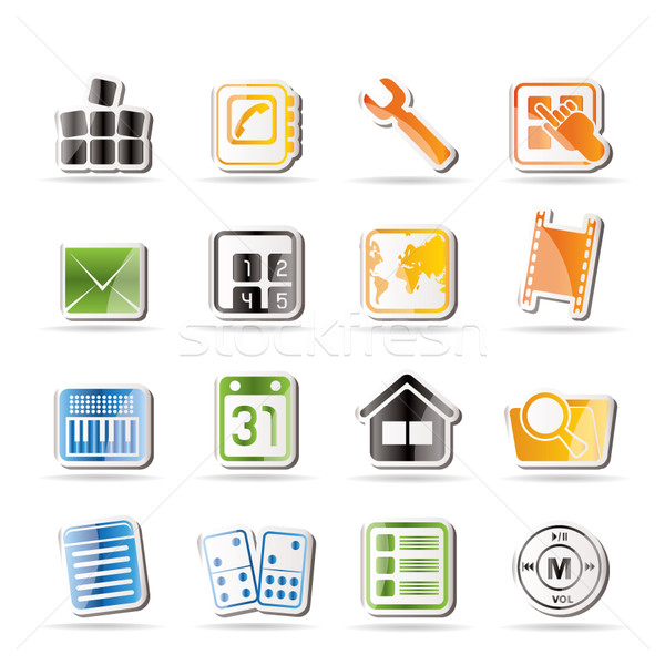 Egyszerű mobiltelefon számítógép ikon vektor ikon gyűjtemény üzlet Stock fotó © stoyanh