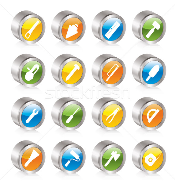 Construction and Building Tools icons Stock photo © stoyanh