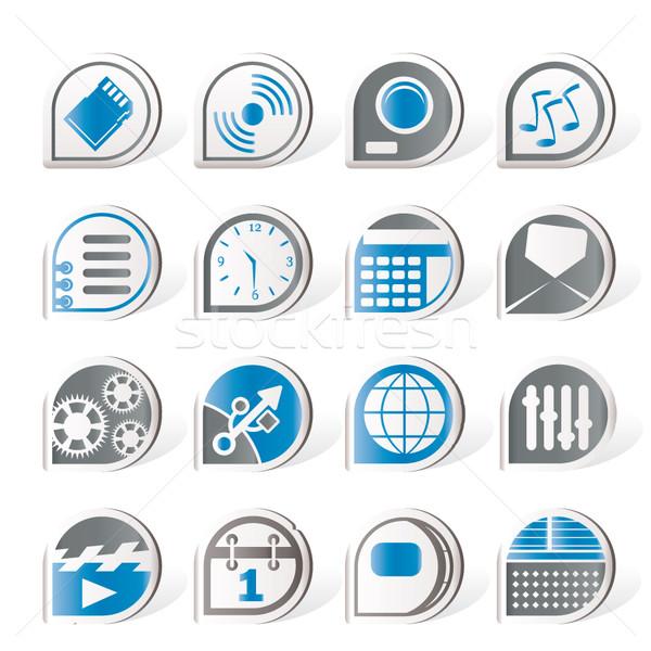 Simple téléphone performances internet bureau icônes Photo stock © stoyanh