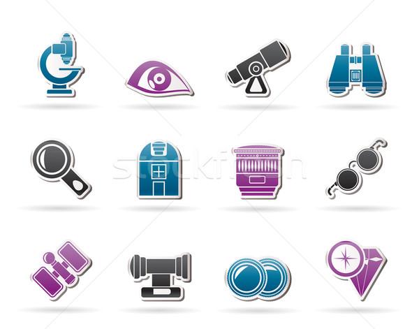 Optikai lencse felszerlés ikonok vektor ikon gyűjtemény Stock fotó © stoyanh