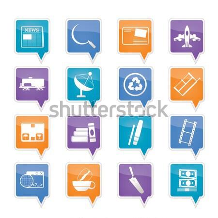 Stockfoto: Vissen · vakantie · iconen · vector · vak