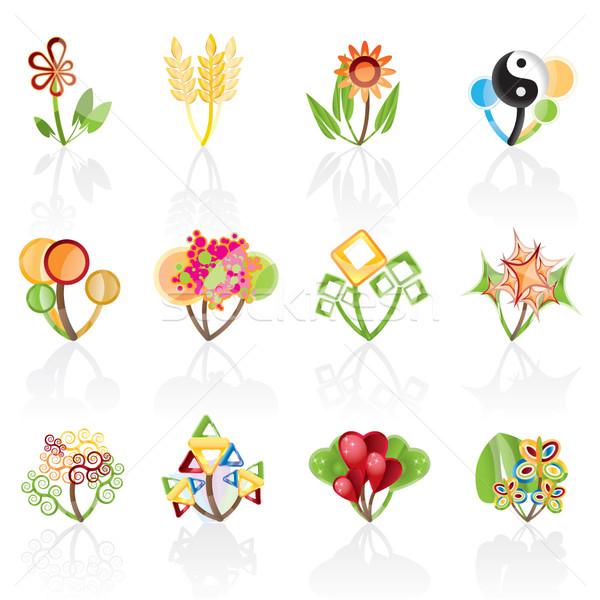 Stock fotó: 12 · absztrakt · virágok · vektor · ikon · tavasz
