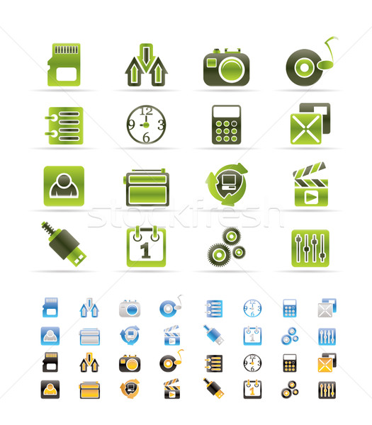 phone  performance, internet and office icons  Stock photo © stoyanh