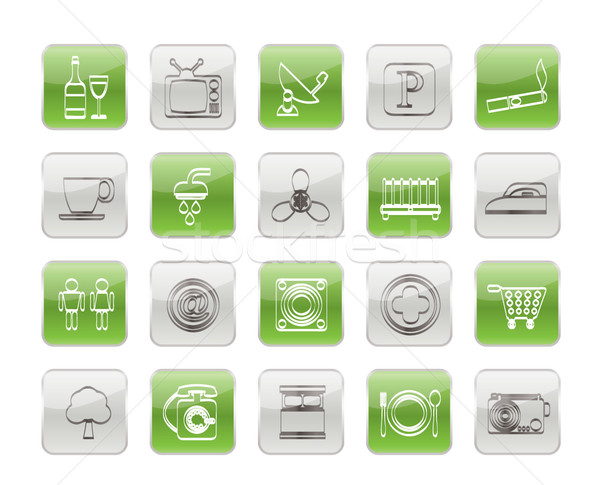 Hotel and Motel objects icons  Stock photo © stoyanh