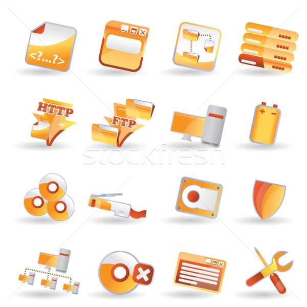 16 Detailed Internet Icons Stock photo © stoyanh