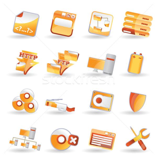 16 részletes internetes ikonok vektor ikon gyűjtemény internet Stock fotó © stoyanh