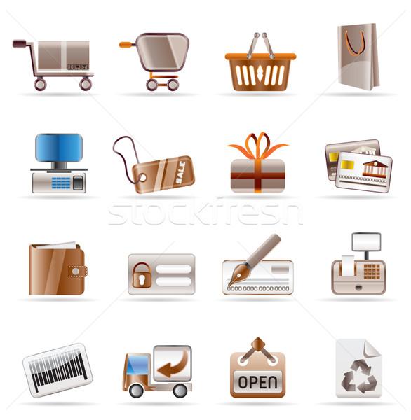 Stockfoto: Online · winkel · website · iconen · vector