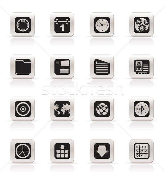 Foto stock: Simples · telefone · móvel · computador · internet · ícone · ícones · do · internet