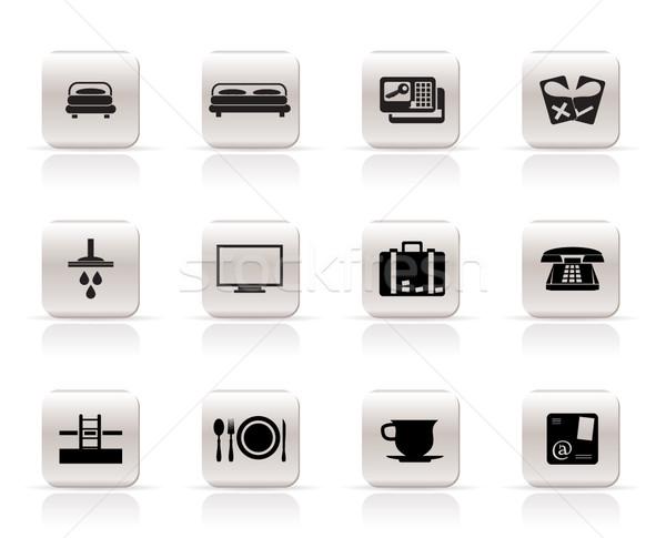 отель мотель иконки вектора дома Сток-фото © stoyanh