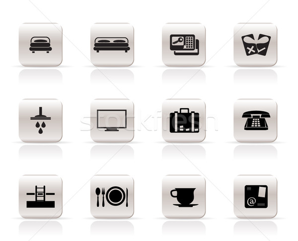 Hotel motel iconen vector huis Stockfoto © stoyanh