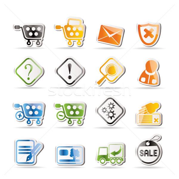 Online sklep ikona wektora działalności Zdjęcia stock © stoyanh