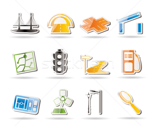 Simple Road, navigation and travel icons  Stock photo © stoyanh