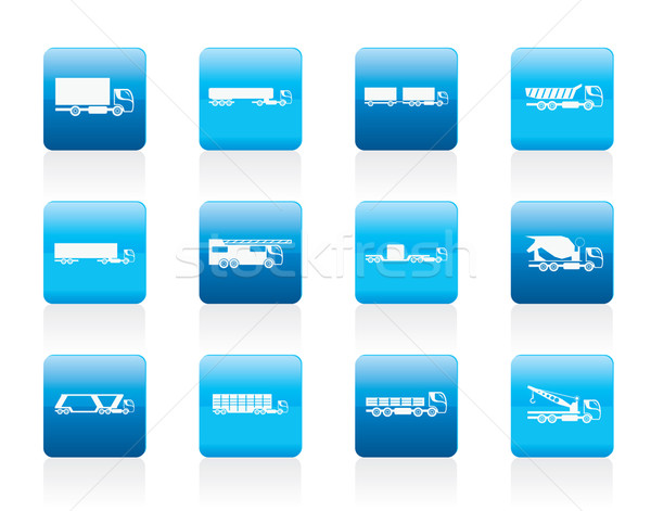 different types of trucks and lorries icons  Stock photo © stoyanh