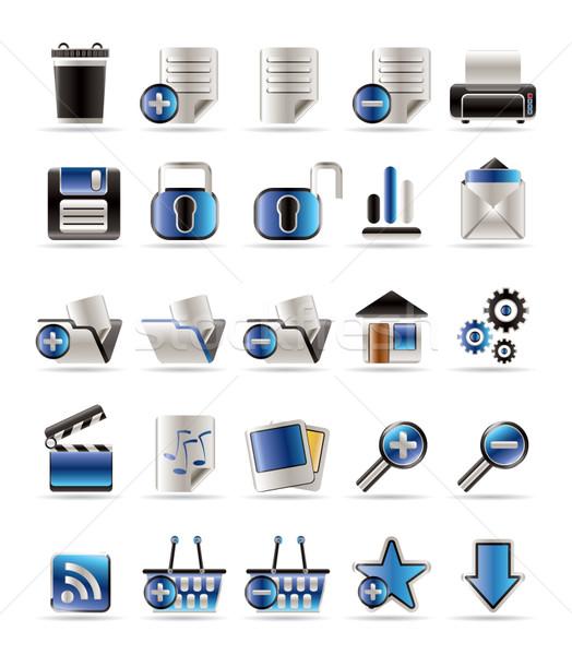 25 valósághű részletes internetes ikonok vektor ikon gyűjtemény Stock fotó © stoyanh