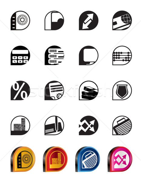 Stockfoto: Eenvoudige · bank · business · financieren · kantoor · iconen