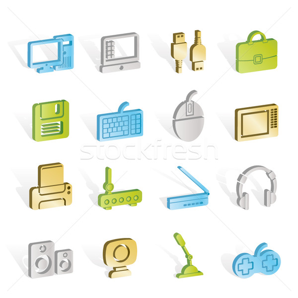 Computer equipment and periphery icons Stock photo © stoyanh