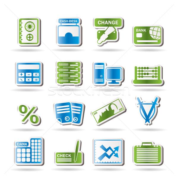 Foto stock: Banco · negócio · financiar · escritório · ícones · vetor