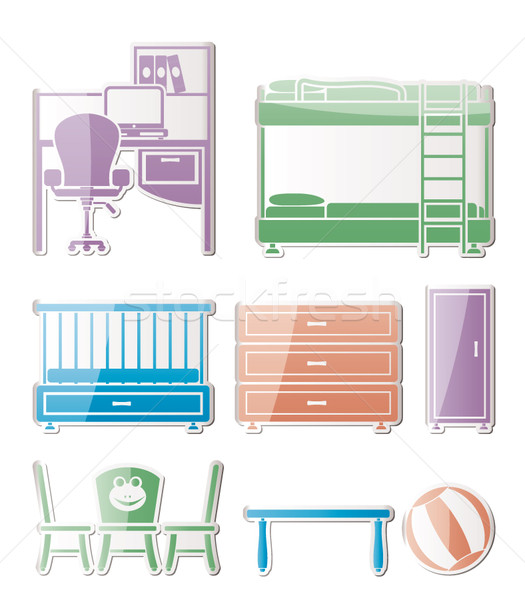 Stock photo: nursery and children room objects, furniture and equipment