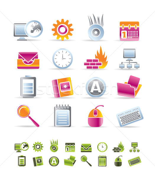 Computer, mobile phone and Internet icons Stock photo © stoyanh