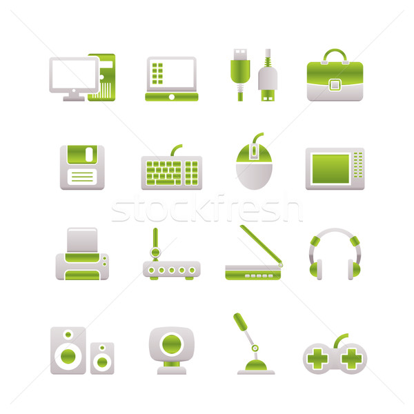 Computerapparatuur iconen vector laptop muis Stockfoto © stoyanh