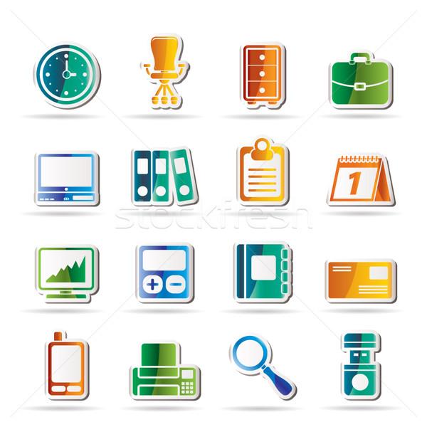 Foto stock: Negócio · escritório · ícones · vetor · computador