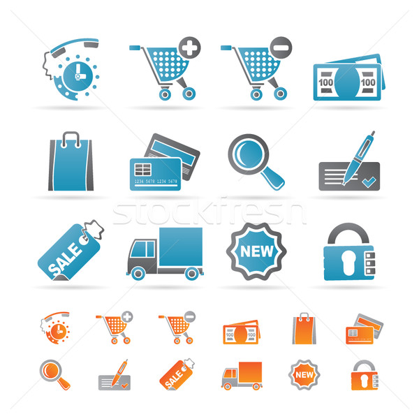 Интернет иконы онлайн магазин вектора часы Сток-фото © stoyanh