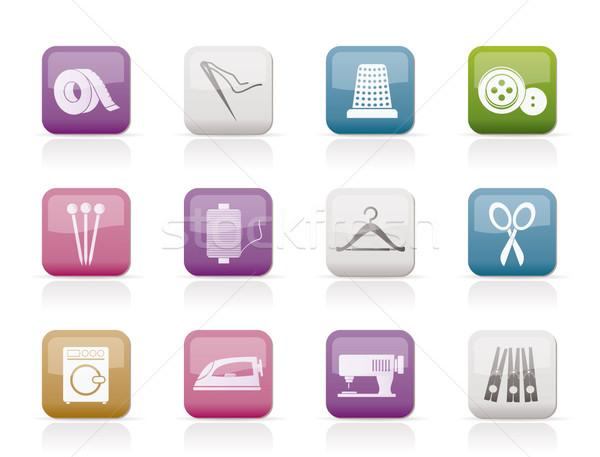 текстильной объекты промышленности иконки вектора Сток-фото © stoyanh