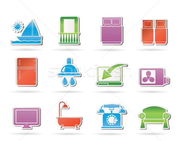 Hotel and motel room facilities icons  Stock photo © stoyanh