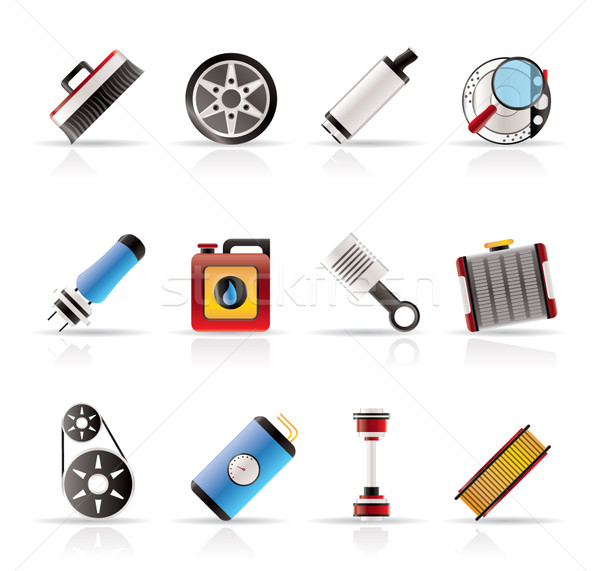 Stock photo: Realistic Car Parts and Services icons