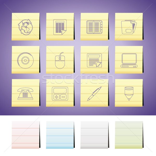 Business kantoor tools iconen vector Stockfoto © stoyanh