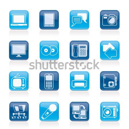 Media informatie iconen vector kleuren Stockfoto © stoyanh