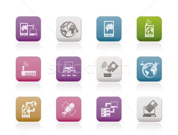 Komunikacji komputera telefonu komórkowego ikona wektora Zdjęcia stock © stoyanh