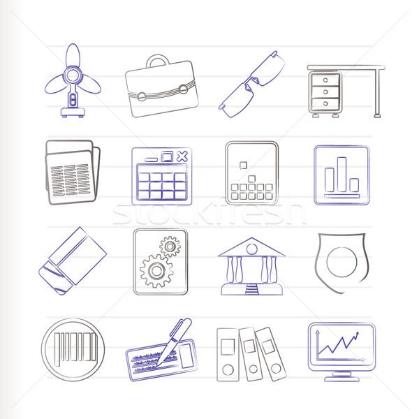 Stock fotó: üzlet · iroda · ikonok · vektor · ikon · gyűjtemény · internet