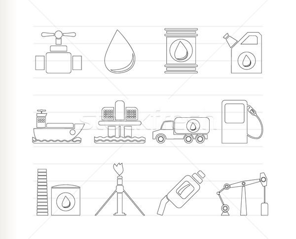 Сток-фото: нефть · бензин · промышленности · объекты · иконки · вектора